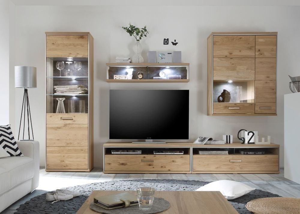 Wohnwand Massiv Espero 2 Wohnzimmerschrank Holz Asteiche Bianco - wohnzimmerschrank eiche hell