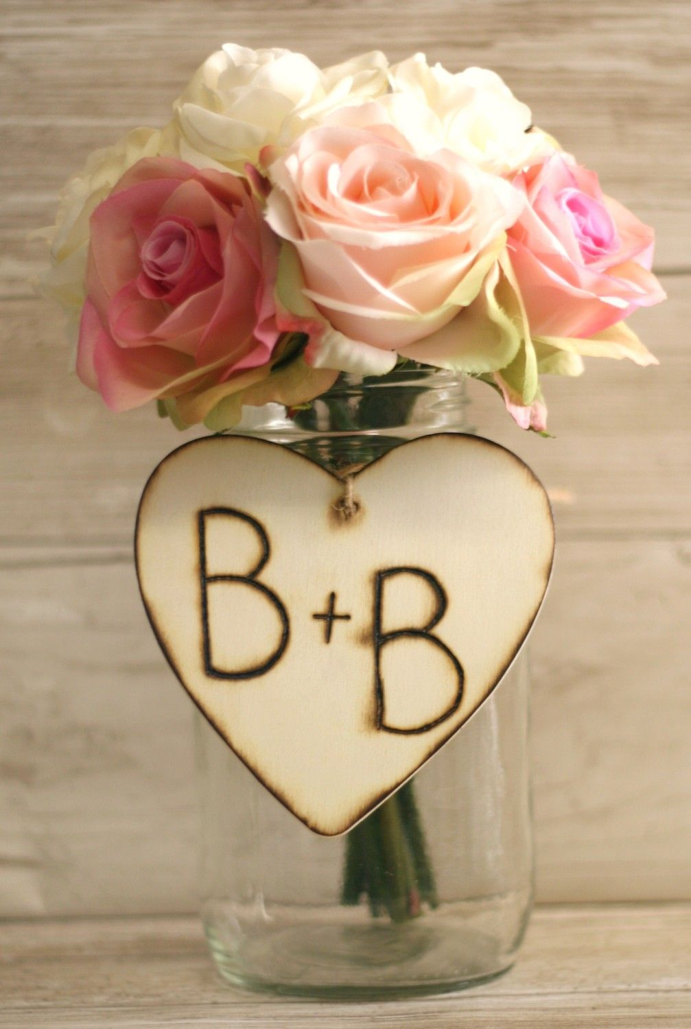 Set of wedding centerpiece wood heart charms engraved