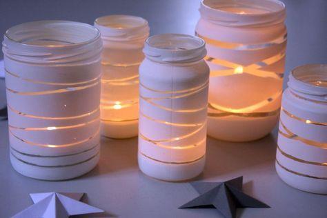 DIY: Gestreifte Windlichter für die Winterdeko | FreyKreativ #weihnachtsdekoglas