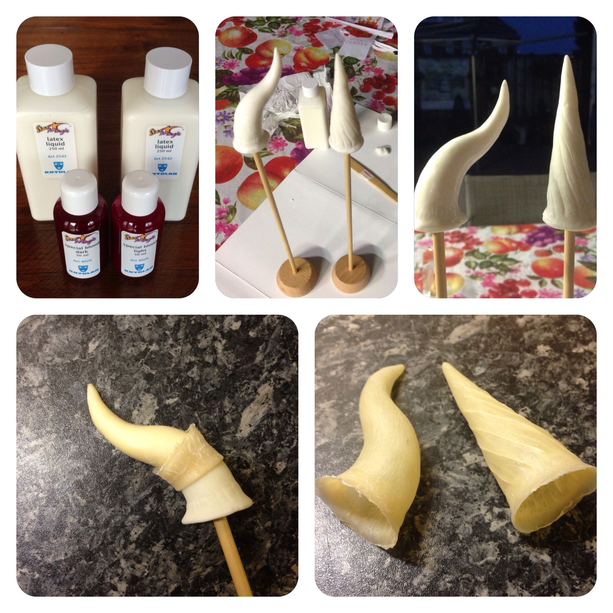 Horns sculpted out of fimo clay. Covered them in several layers of liquid latex to create a light weight application.