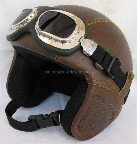 Motorcycle Helmet Vespa Oldtimer Retro Leather Style Goggles Brown Motorcycle Helmets Cool Motorcycle Helmets Vintage Helmet
