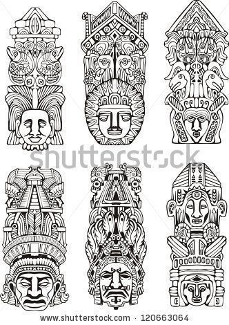 Abstract mesoamerican aztec totem poles. Set of black and white ...