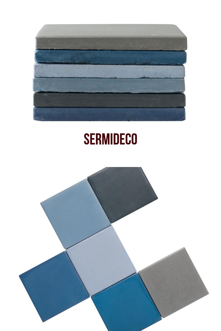 Carrelage En Beton Facon Carreau Ciment Dans La Masse Carreaux Ciment Teinte De Bleu Carreau