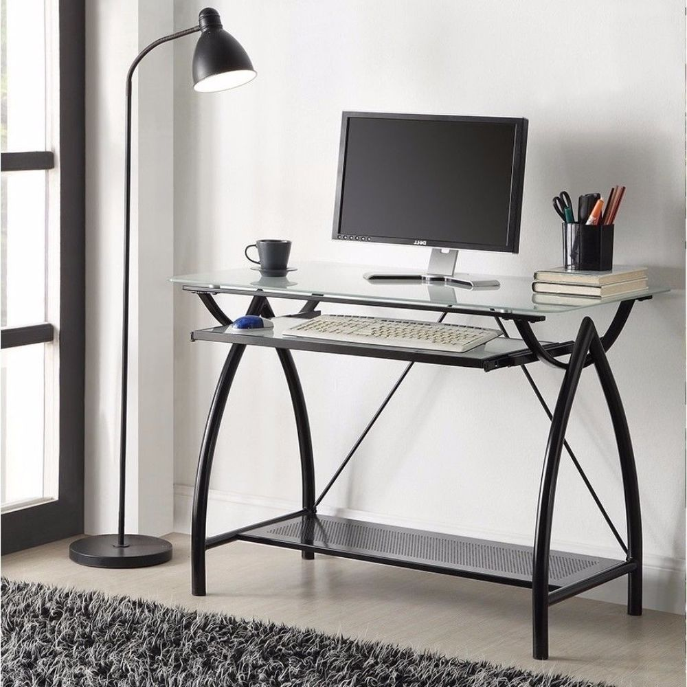 Black Metal Glass Top Computer Desk With Keyboard Tray Home Office Furniture Desk Home Office Furniture Furniture Desk With Keyboard Tray