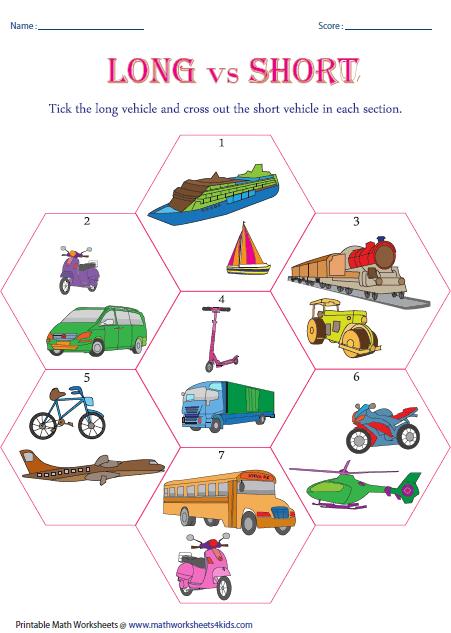 Long vs Short: Vehicle Theme   tehtäviä lapsille/ worksheets ...