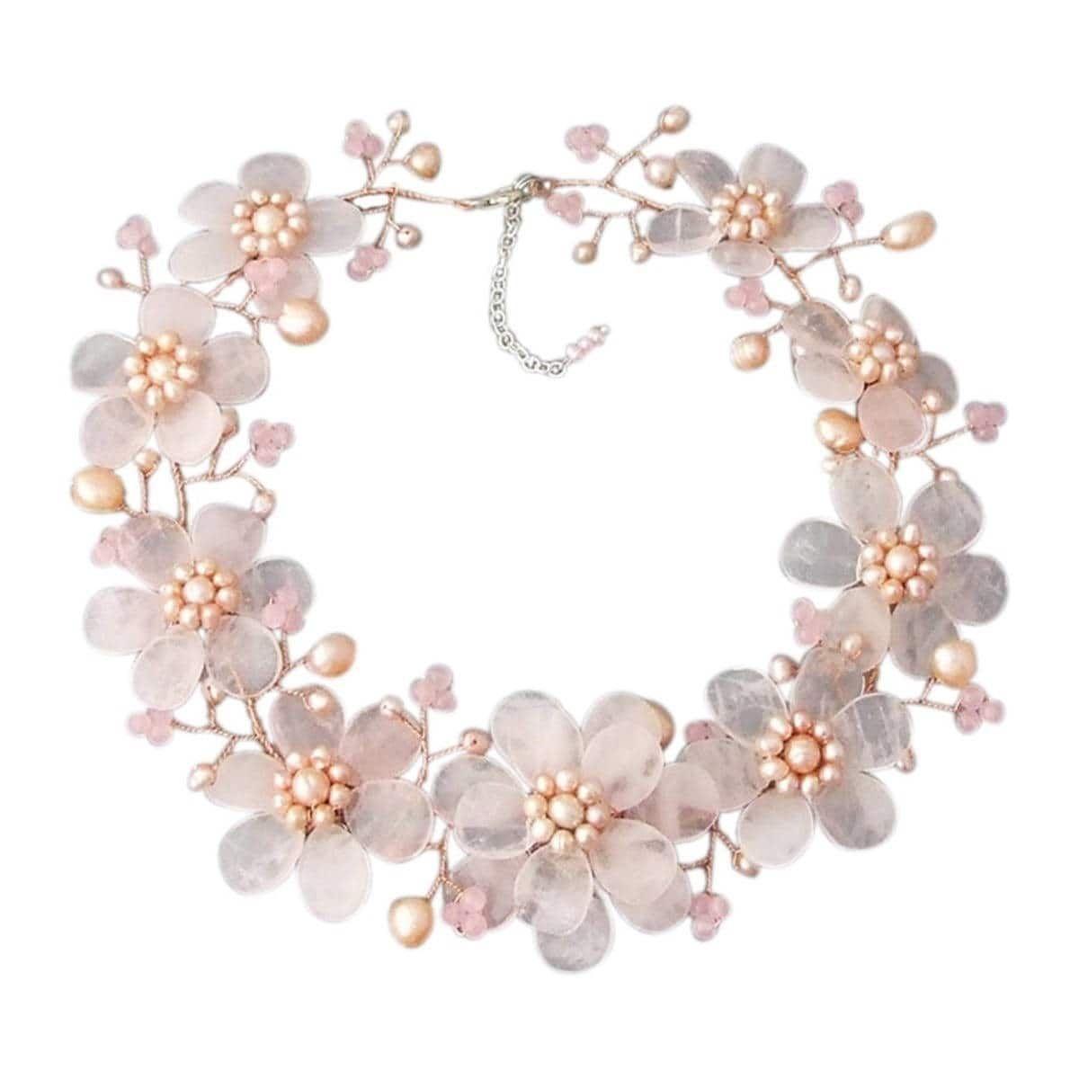 Floral Rose Quartz Freshwater Pearl Necklace