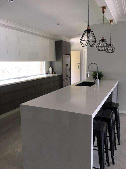 Superb Modern Kitchen With Waterfall Edge Island Bench Kitchen Theyellowbook Wood Chair Design Ideas Theyellowbookinfo