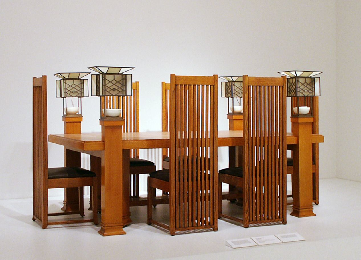 frank lloyd wright dining table and six side chairs designed for robie house prairie style dining table and six side chairs by frank lloyd wright