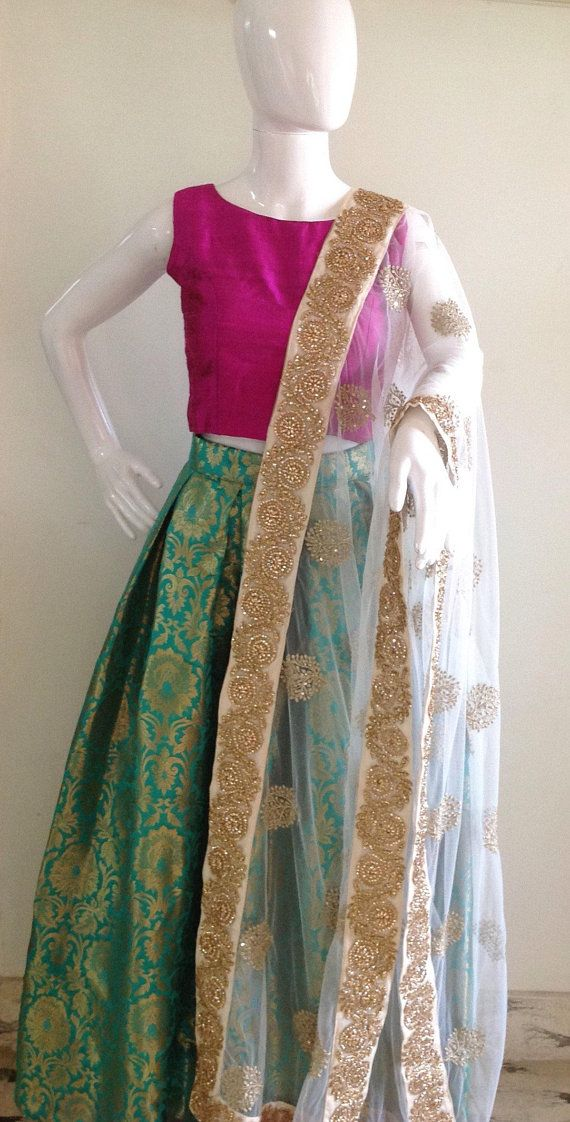 cab178dae5471 Brocade skirt and Raw silk crop top with dupatta in 2019