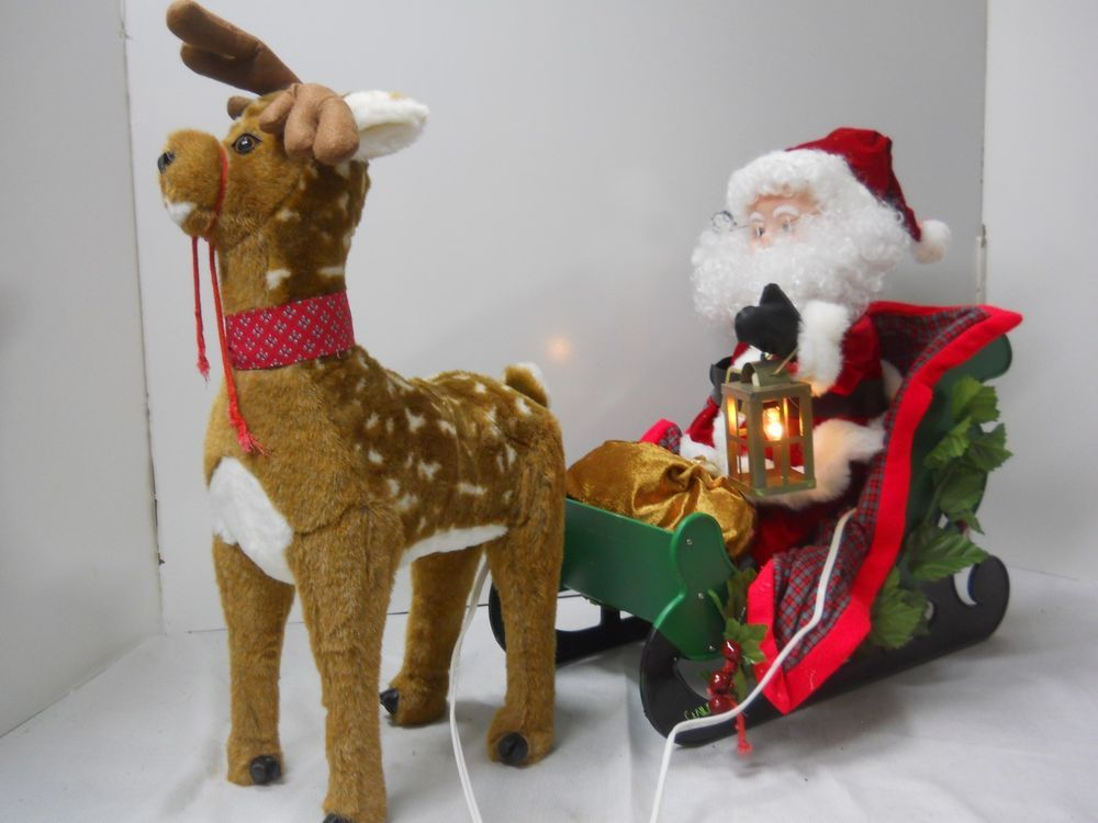 santa s best animated collection reindeer pull santa sleigh