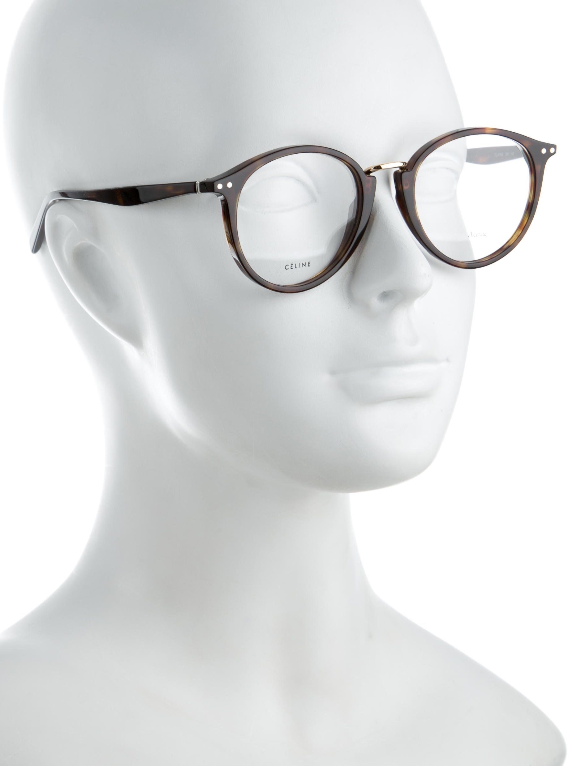 b4cad232d8 Tortoiseshell acetate C¨¦line round eyeglasses with clear lenses
