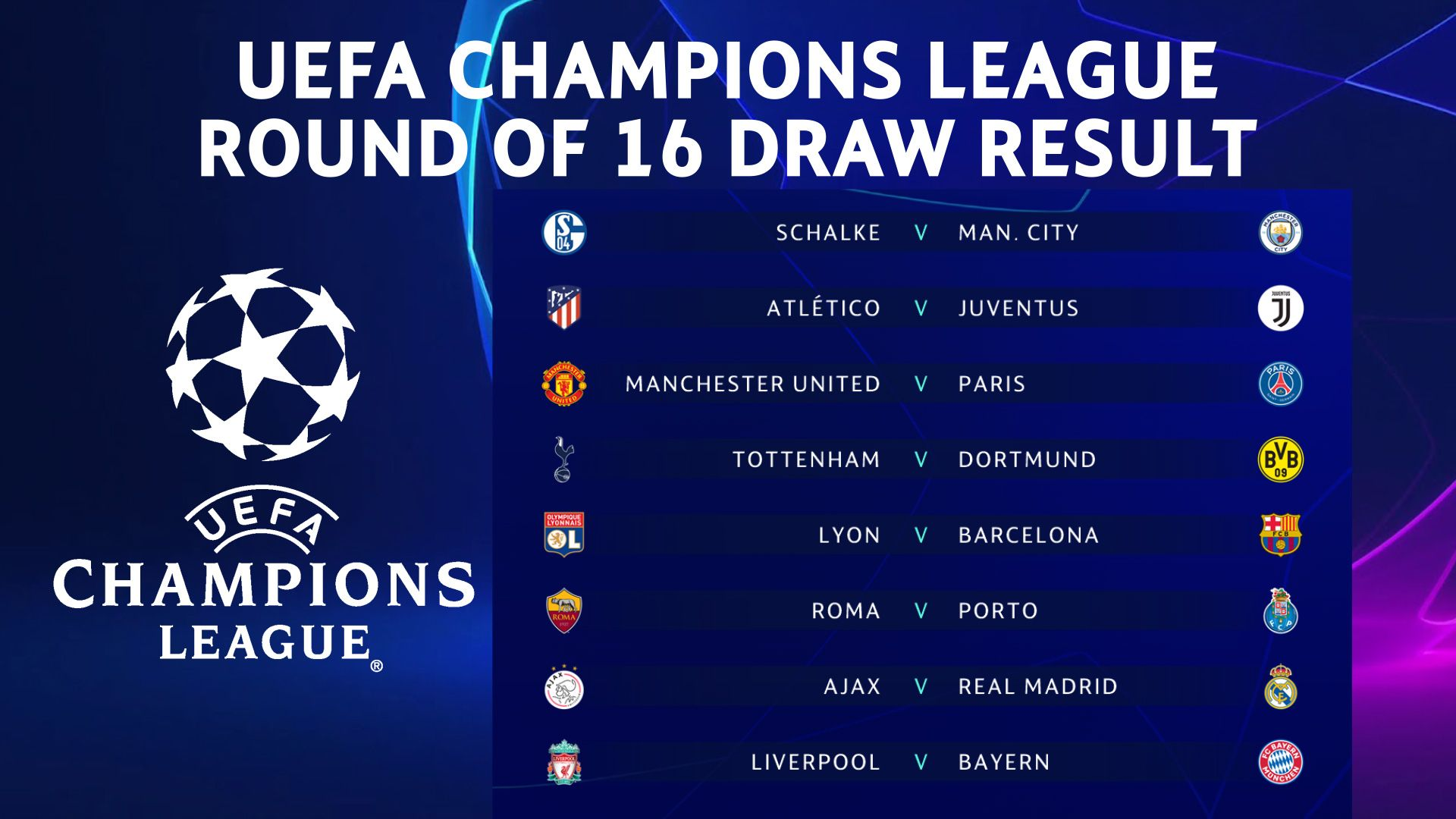 UEFA Champions League Round of 16 Draw Result #UCLdraw ...
