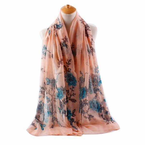 Women Rose Silk Voile Scarves Casual Outdoor Sunscreen Warm Shawl