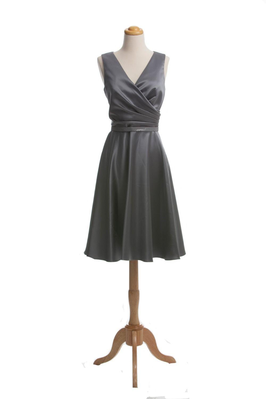 Short Dress for Weddings Simple V-neck Covered Back Knee Length Short Satin Bridesmaid Dress Custom Size