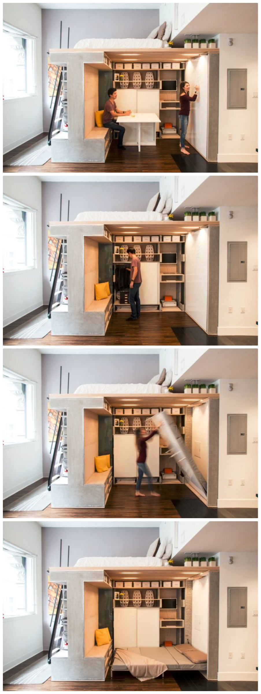 Multifunctional loft transforms a small condo into a dynamic space