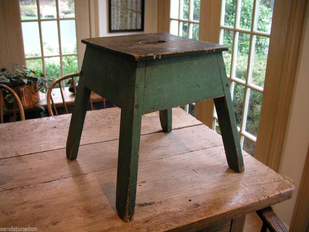 Milking Bench Part - 49: Antique Folk Art Stool Primitive Farm Milking Bench Original Paint AAFA |  EBay