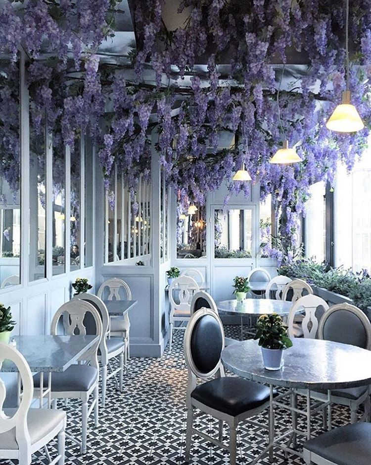 Dreamy outdoor patio at Aubaine cafe in Selfridges on