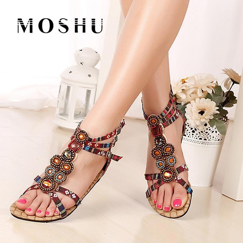 Women Summer Bohemia Flat Sandals Beaded Rhinestone Crystal Slippers Ladies Cover Heel Us 37 15 Designer Gladiator Sandals Bohemia Sandals Gladiator Sandals