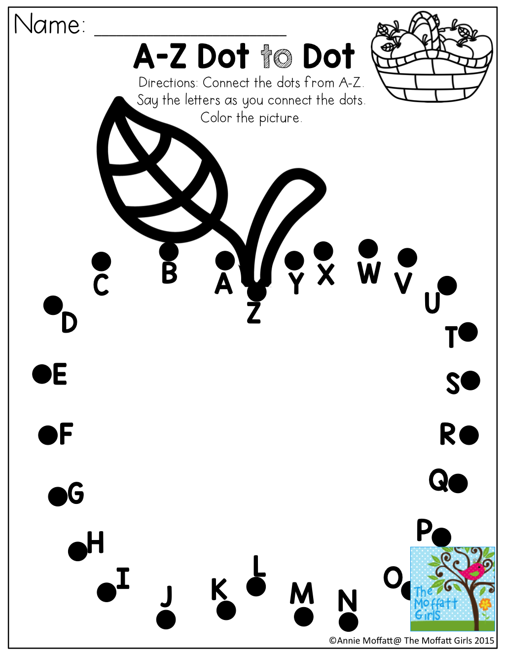 A-Z Dot to Dot and TONS of other printables for PreK- 3rd Grade ...