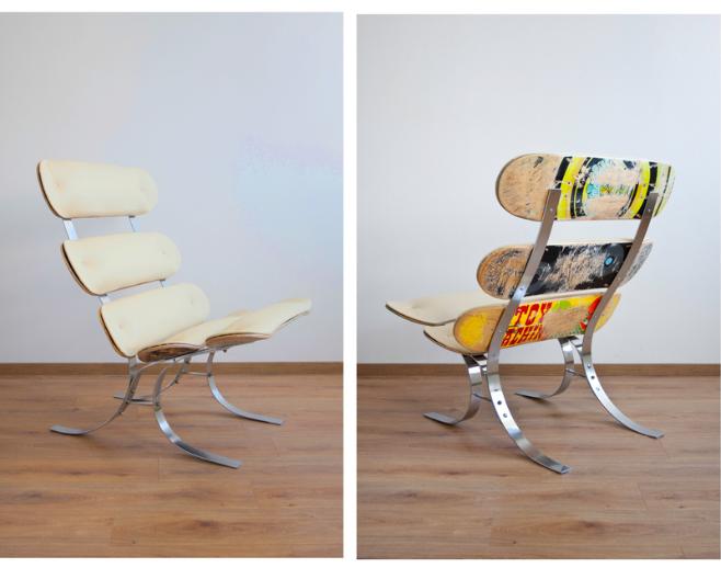 Upcycling Skateswing   Skateboard Lounge Chair: Von Colourform, Inspiriert  Vom Barcelona Chair. KEIN Klassiker, Aber Deutlich Creativer, Als Die  Kopien, ...
