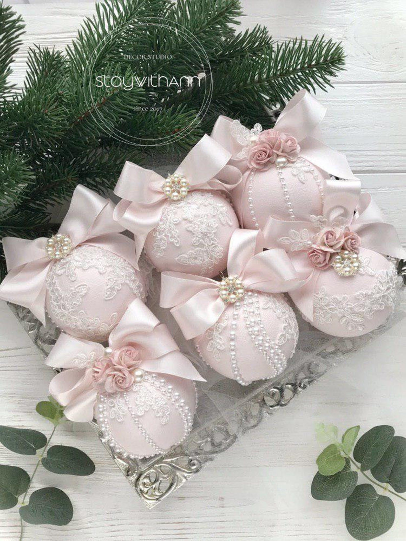 Christmas Ornaments Set of 6 Elegant Christmas Ornaments Lace Blush Pink Christmas Ornament Handmade Pearls Shabby Chic Christmas Tree Ideas