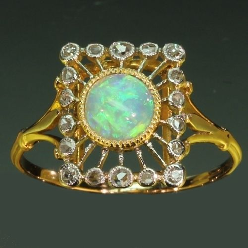 Antique jewelry Estate Opal engagement ring with diamonds