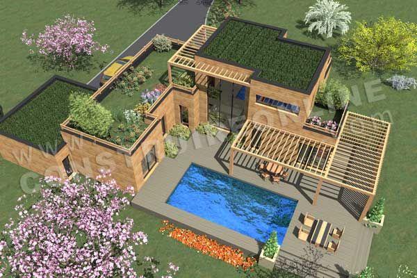 Plan de maison bois etage contemporaine INFINITY vue dessus house - plan de maison a etage moderne