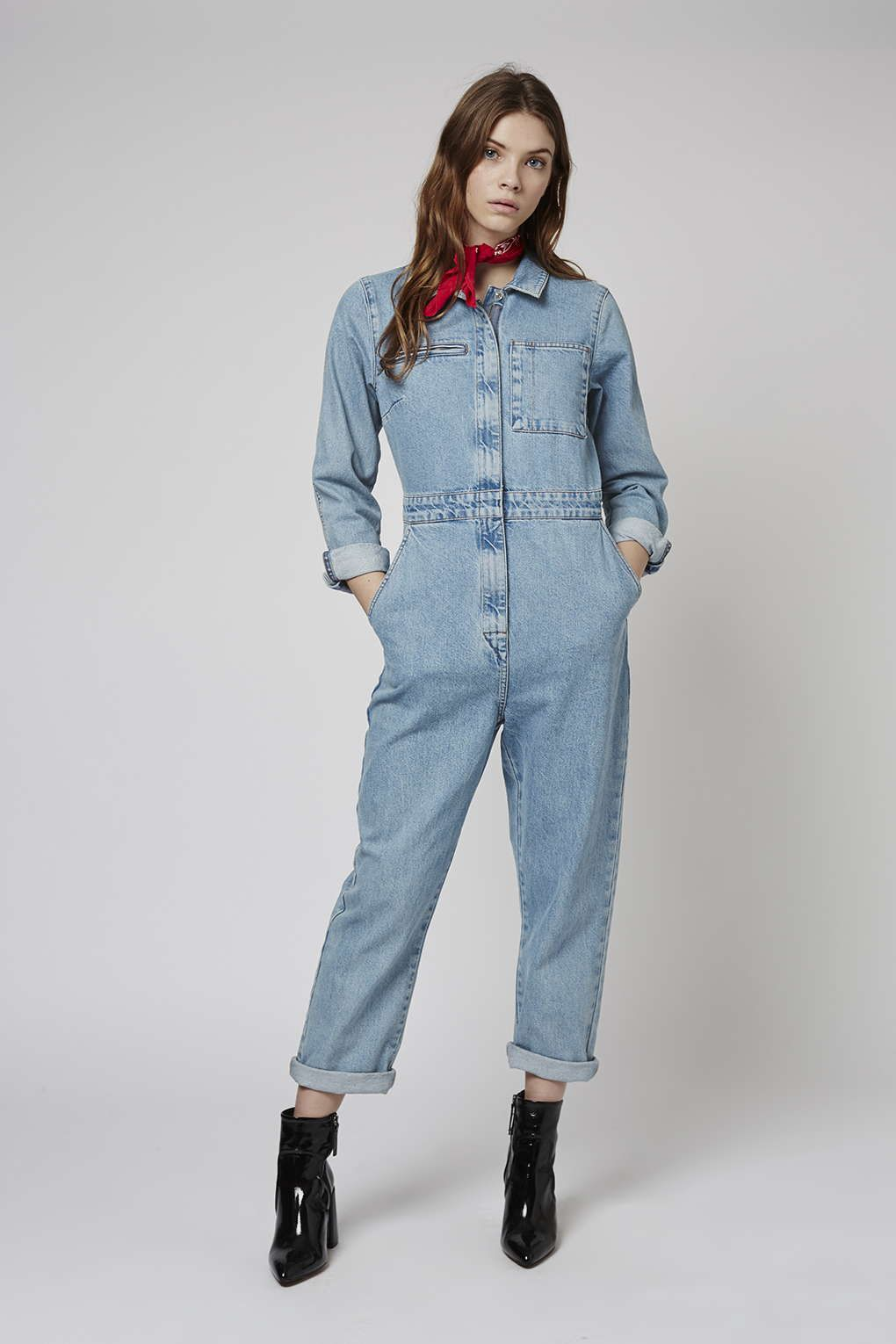 149f48067ba MOTO Bleach wash denim boilersuit with zip front fastening and displaced  back pocket.  Topshop