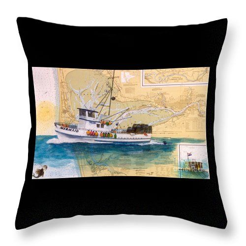 Decorative Pillows For Yachts : Mermaid Prawn Fishing Boat Nautical Chart Map Art Throw Pillow for Sale by Cathy Peek Nautical ...