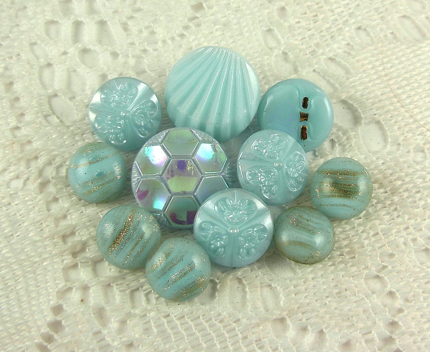 VINTAGE Turquoise Glass Buttons