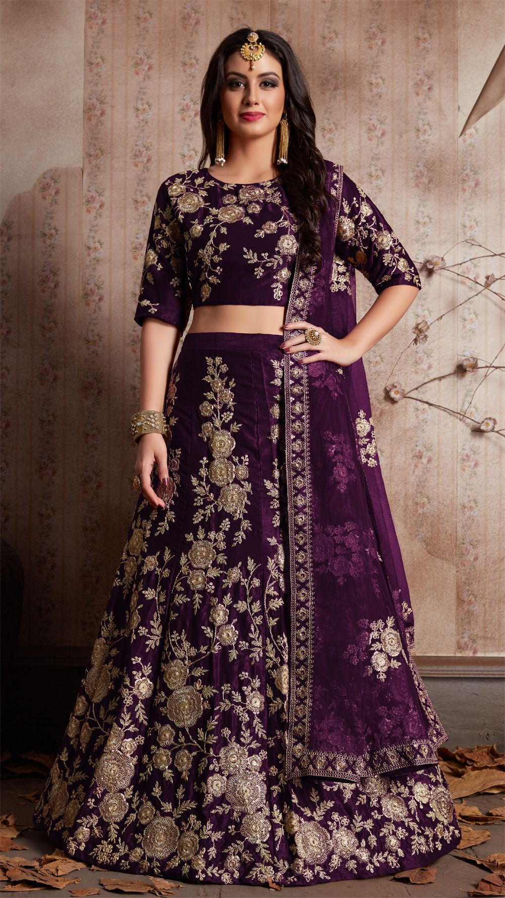 54038bbdd9 Check out the Purple Velvet Silk Lehenga Choli at #NihalFashions. Discount  & Free shipping all over India. Use Coupon Code: OCT2018 #WomensFashion  #Fashion ...