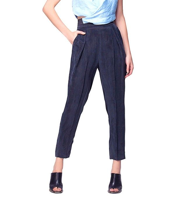Beg Trousers With High Waist via @WhoWhatWear