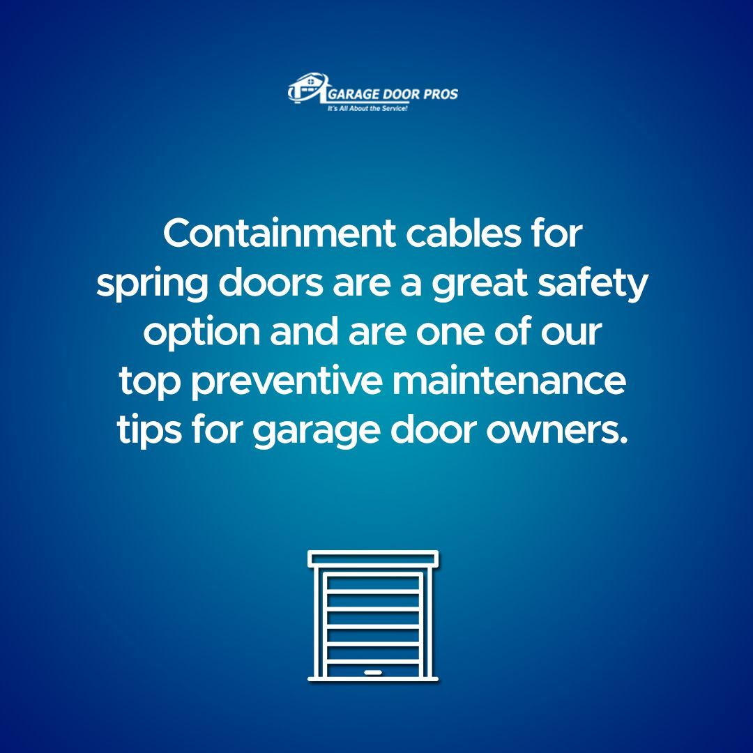 Containment Cables For Spring Doors Are A Great Safety Option And Are One Of Our Cables Containment Doors In 2020 Garage Doors Spring Door Preventive Maintenance