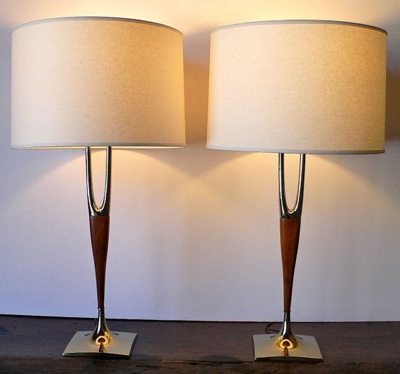 Elegant 2 Mid Century Lamps LAUREL Wishbone Brass U0026 Walnut   Danish Modern   Set Of  2