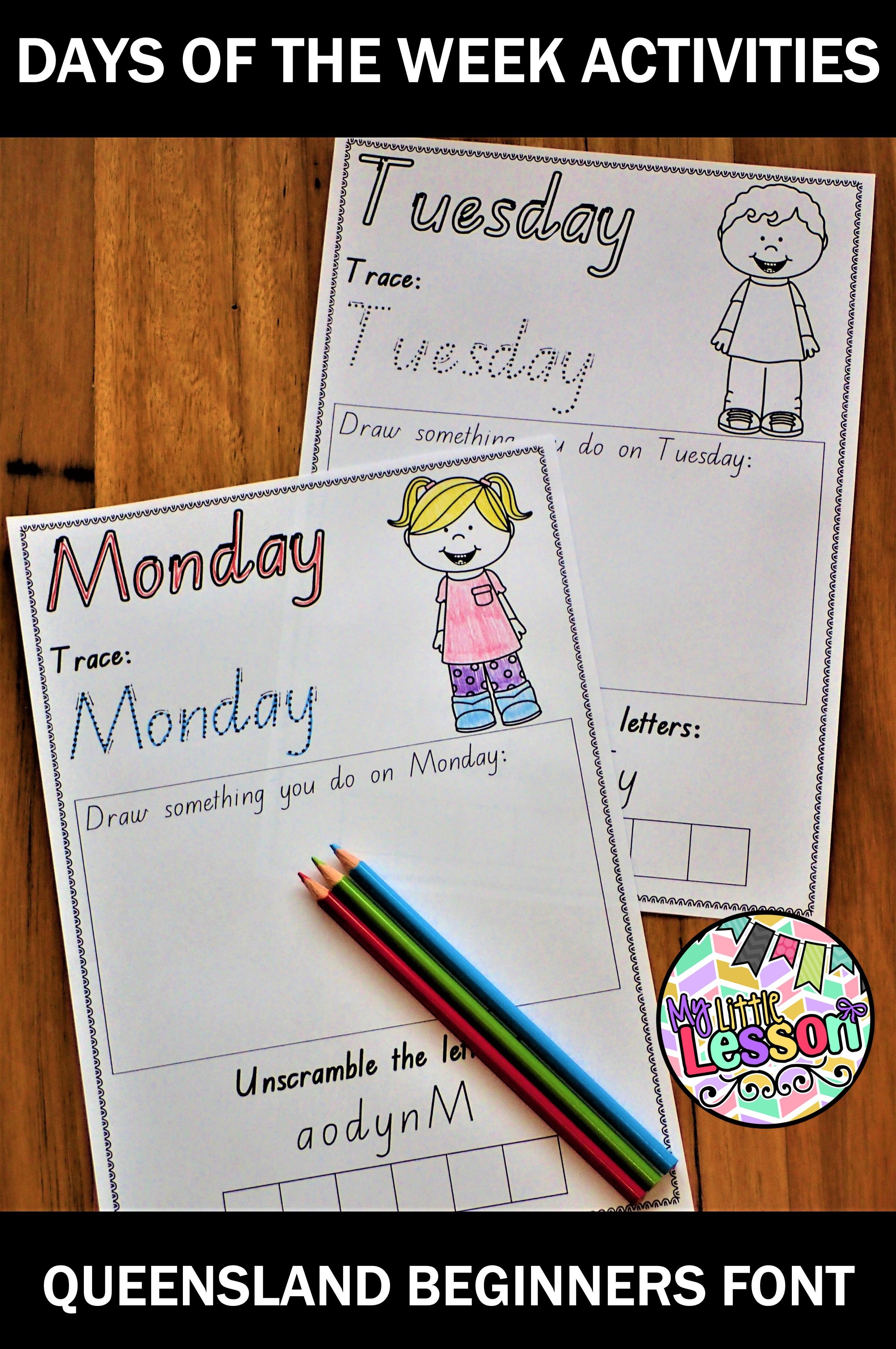 These Days Of The Week Activities Have Been Created In The Queensland Beginners Font It Days Of The Week Activities Foundation Maths Primary School Curriculum [ 3444 x 2288 Pixel ]