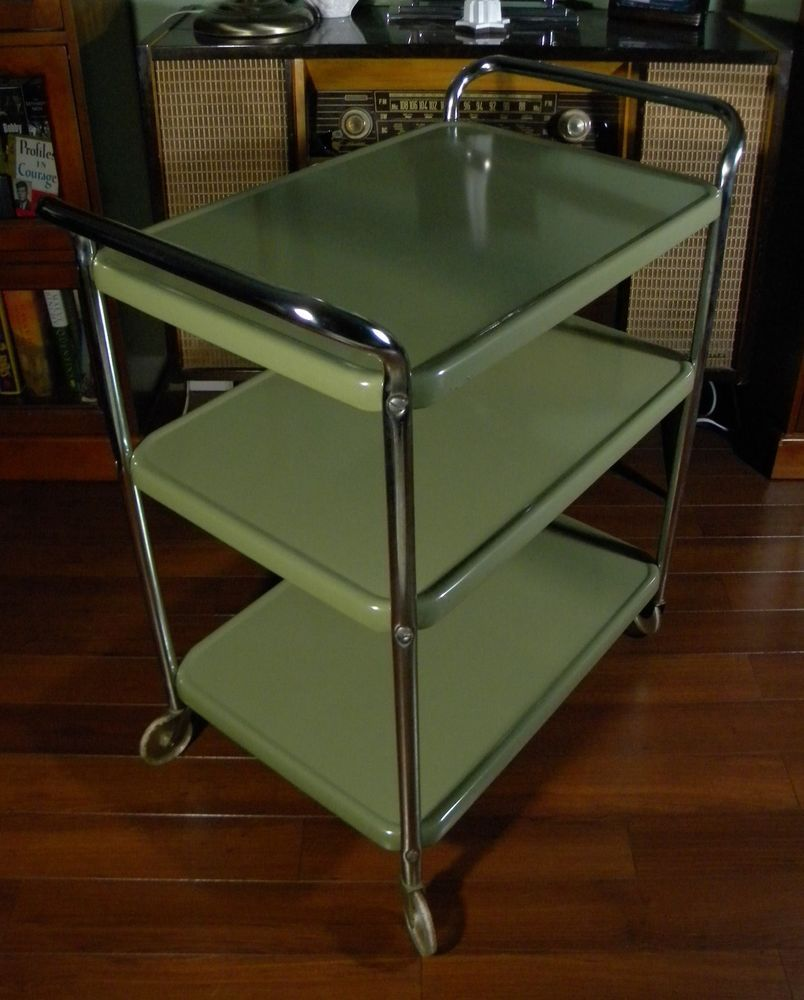 metal kitchen carts stainless steel double sink undermount vintage mid century 1950s cosco olive green serving tea bar cart
