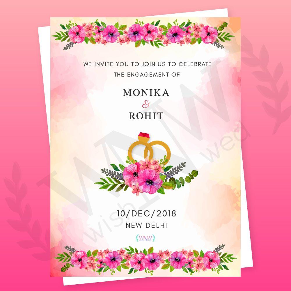 Floral Engagement Invite Engagement Invitation Cards Wedding Card Design Online Wedding Card Maker