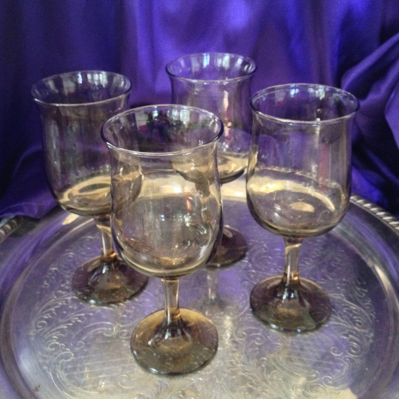 Libbey Tawny Topaz Tulip Wine Goblets, Smoked Glass Stemware, 1970s Grand…