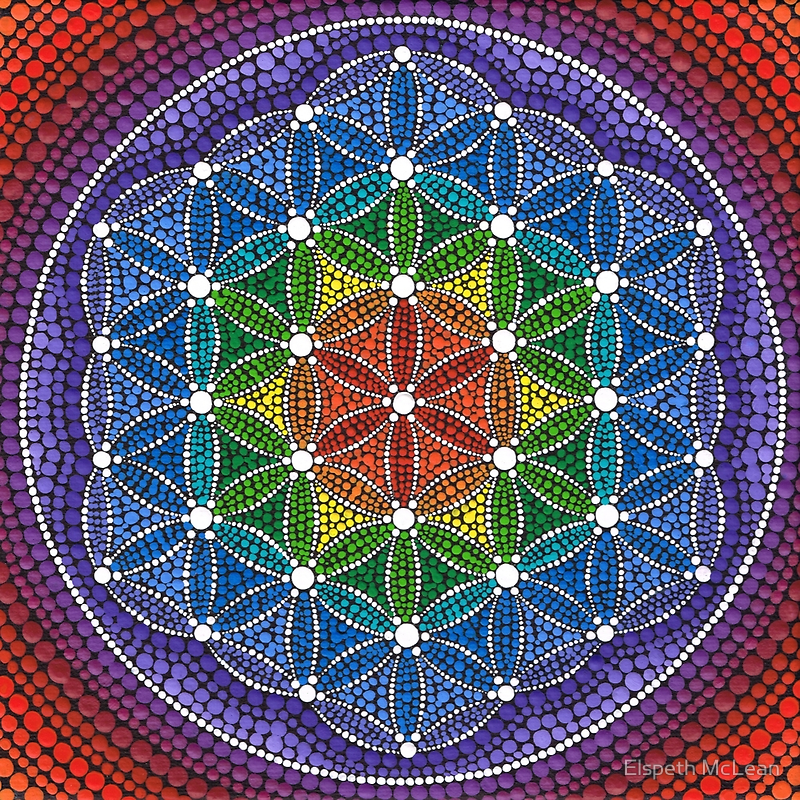Rainbow Flower Of Life By Elspeth Mclean Blume Des Lebens Blume Des Lebens Mandala Wie Man Blumen Malt