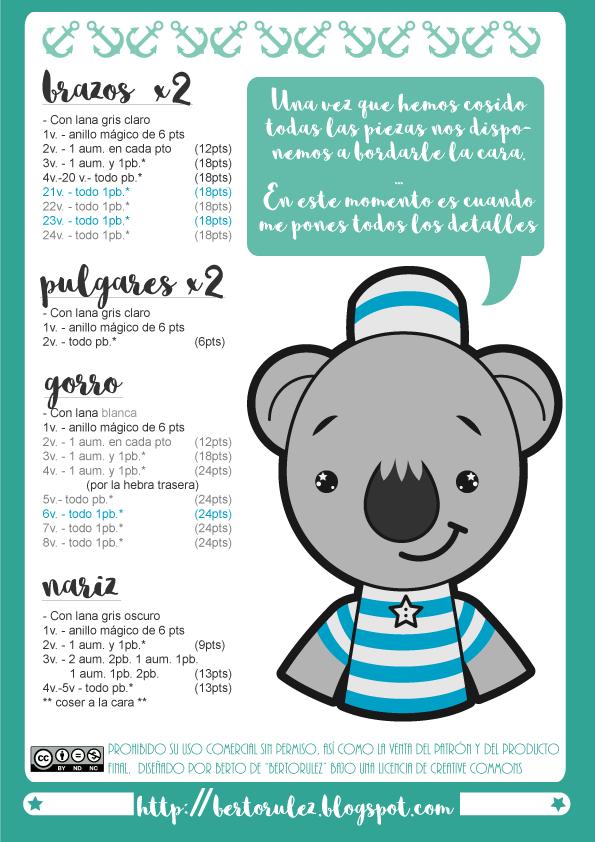 Free koala #amigurumi pattern! Patrón amigurumi koala bertorulez ...