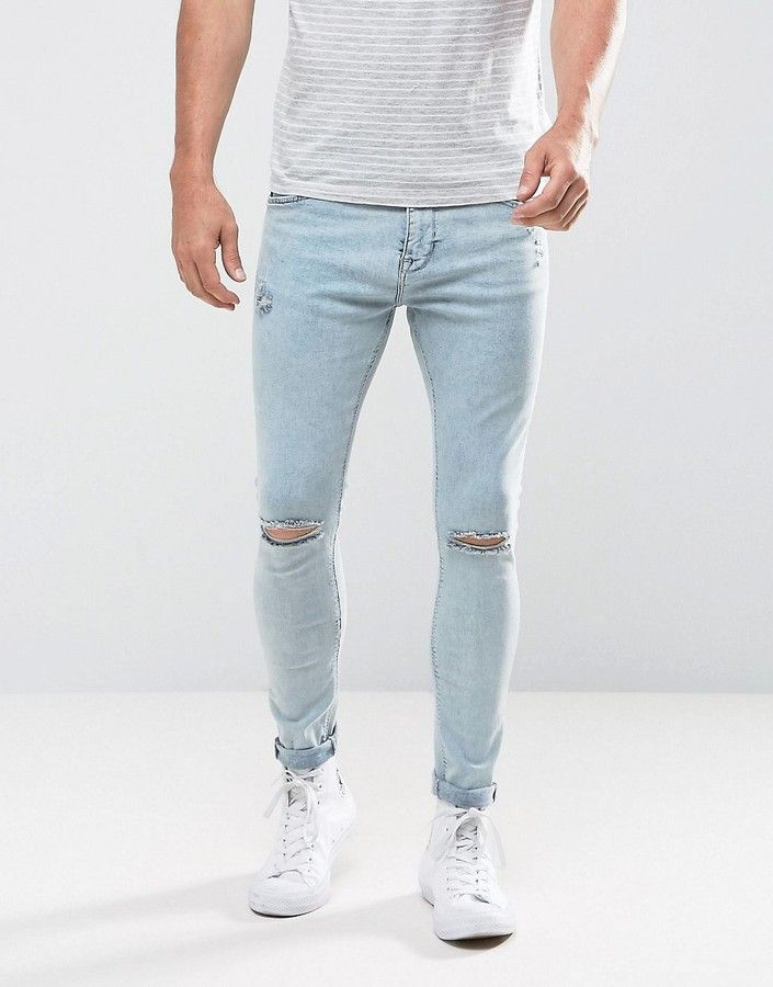 334209be36f Bershka Super Skinny Jeans With Rips In Acid Wash | men's outfits in ...
