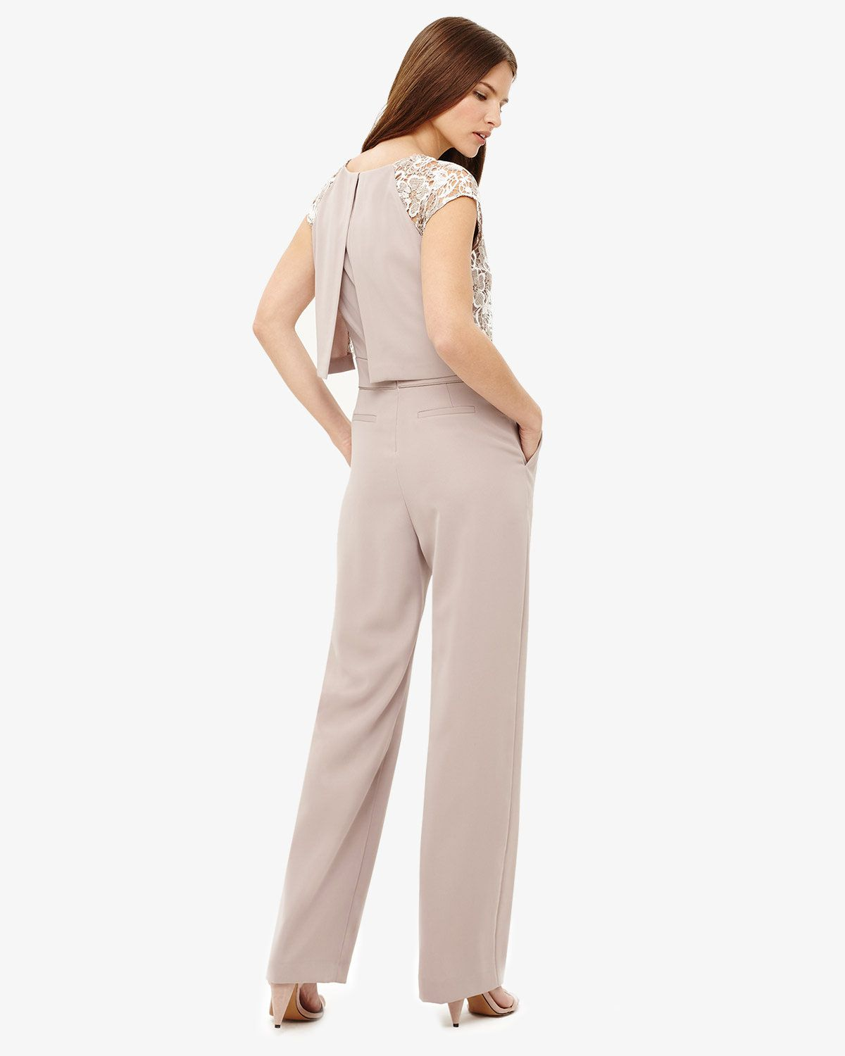 14fdedfa4233 Phase Eight Cortine Lace Jumpsuit Neutral
