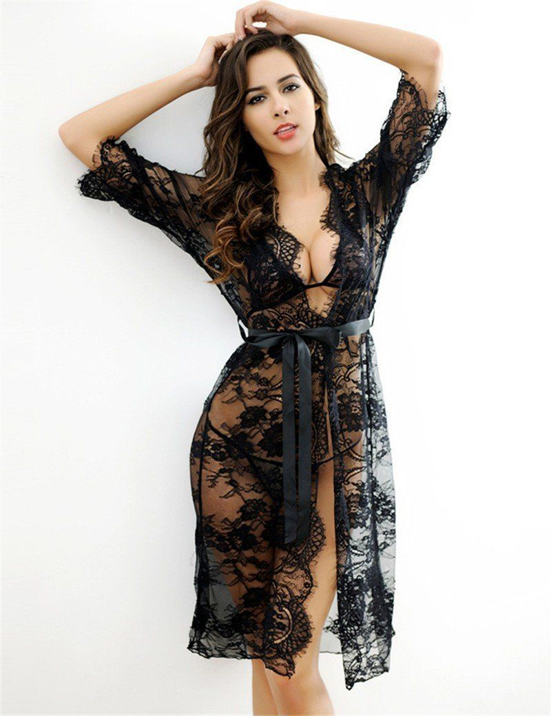 dba48f6942 Buy Black Sheer Transparent Lace Lingerie Sexy Sleepwear at ...