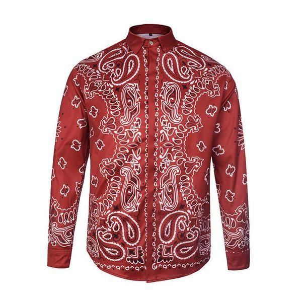 73bc4260 Red Bandana Paisley Button-up Shirt | MEN'S SHIRTS in 2019 | Shirts ...