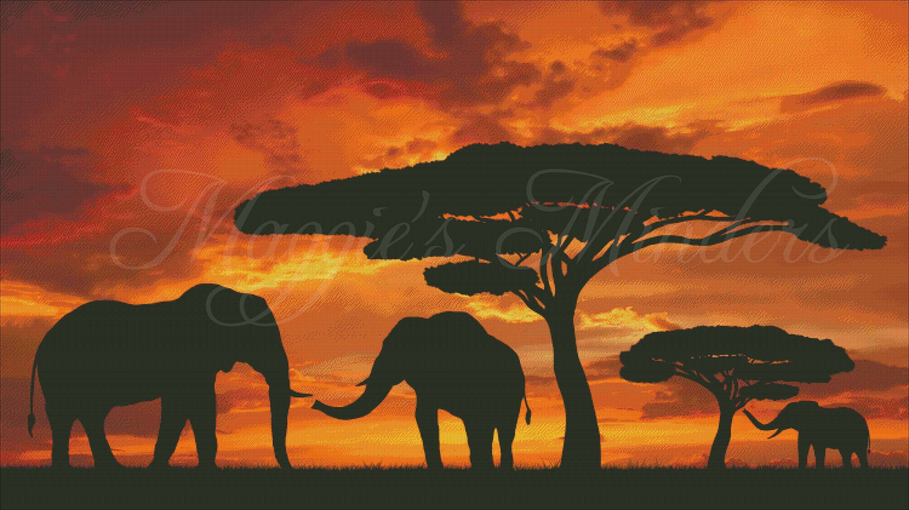 African Elephants At Sunset Full Coverage Cross Stitch Pattern