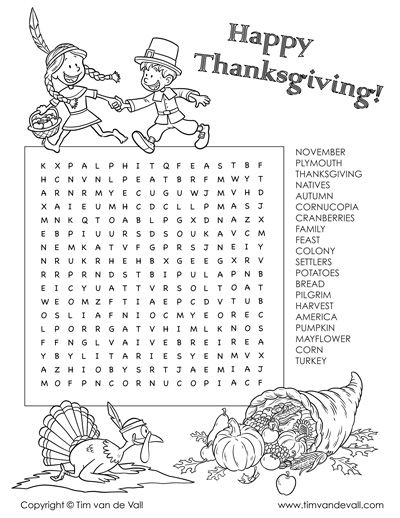 Thanksgiving Word Search - Can you find all 20 Thanksgiving-themed