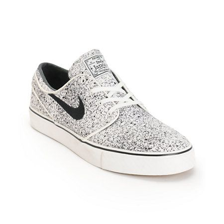 Nike SB Zoom Stefan Janoski PR Ivory & Black Speckle Skate Shoes | Zumiez