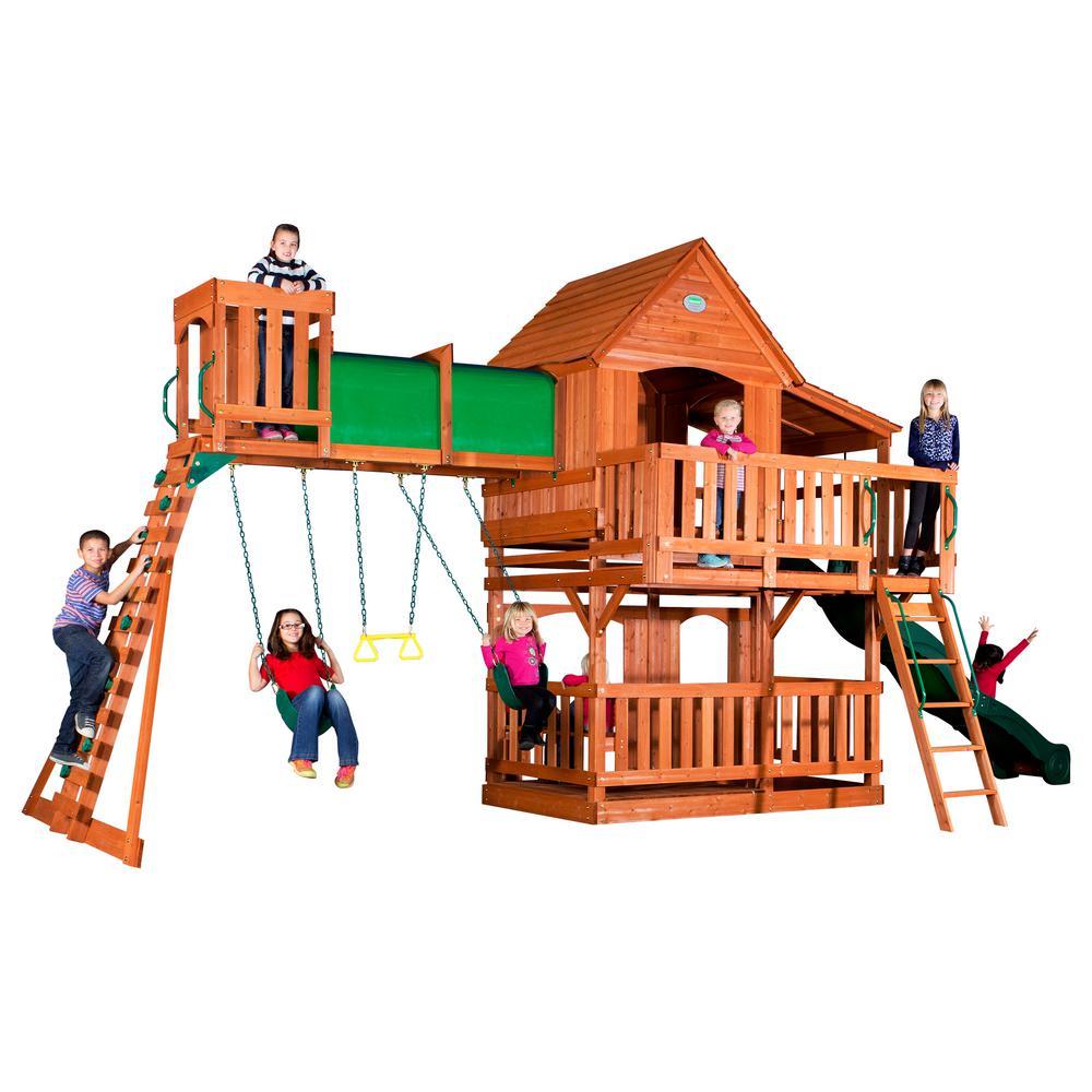 Backyard Discovery Woodridge Ii All Cedar Swing Set 6815com The Home Depot Cedar Swing Sets Wooden Swing Set Swing Set