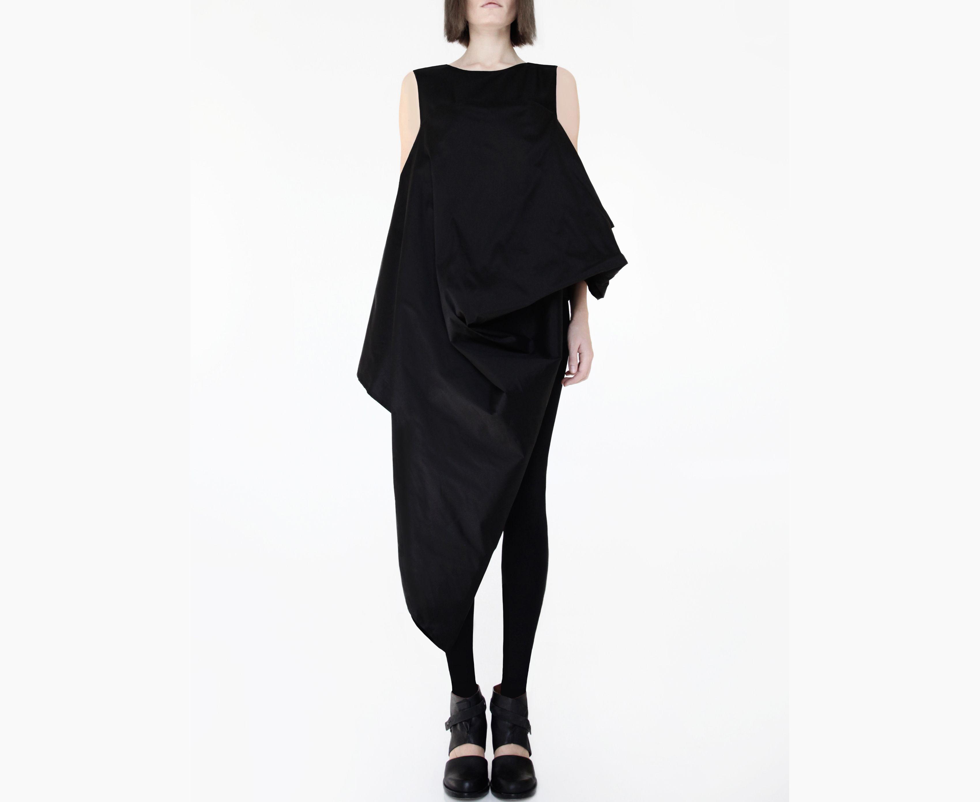 Boho Draped Parachute Dress Asymmetrical Cocoon Dress Etsy Black Taffeta Dress Asymmetrical Black Dress Fashion [ 2784 x 3400 Pixel ]