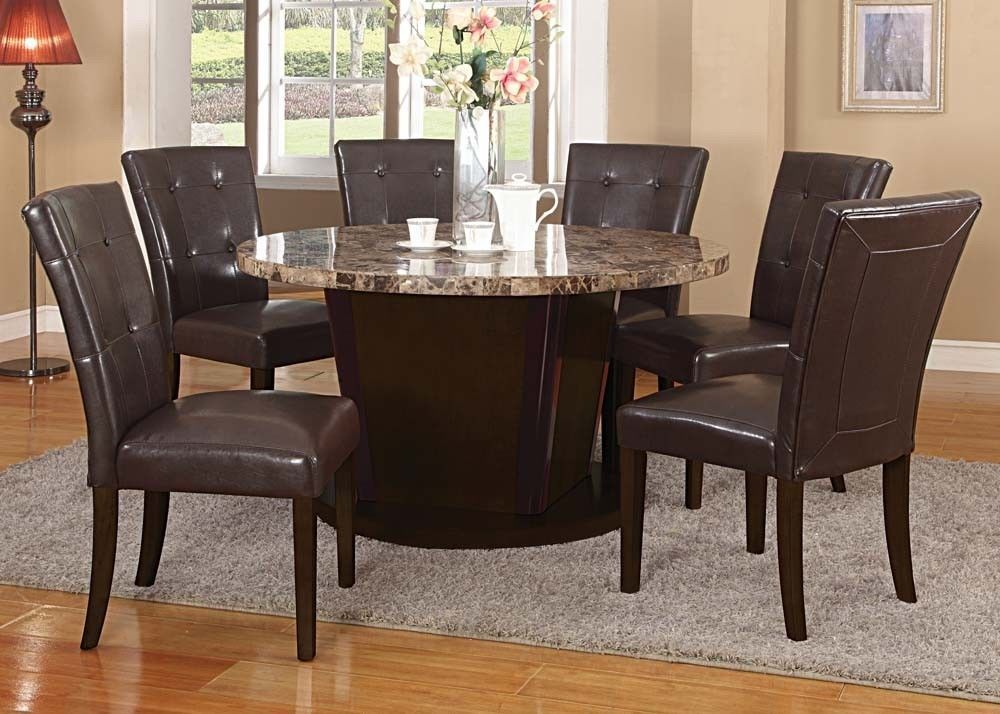 Espresso Transitional Brown Marble Top Round Dining Table Set 7pc Dining Set Acme Mod Round Dining Room Table Marble Top Dining Table Round Dining Table Sets